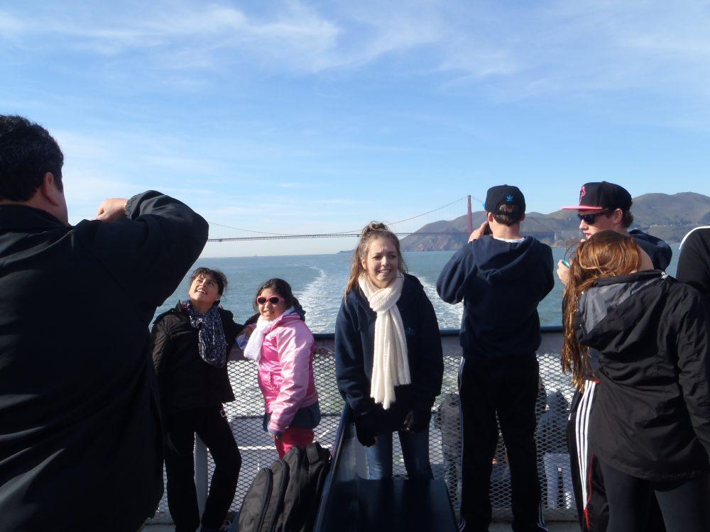 funny photo of girl with Golden Gate Bridge San Francisco