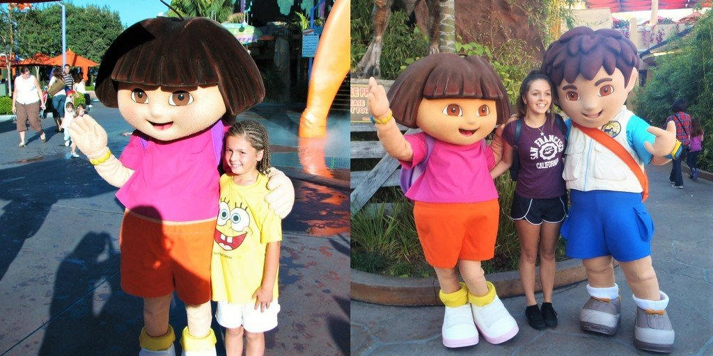 Girl with Dora the Explorer and Diego at Universal Studios California
