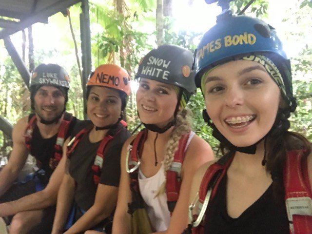 Iphone photos of squad with hellmets on canopy jungle surfing Daintree Rainforest
