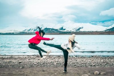 best friend kick creative lake tekapo roadtrip shot