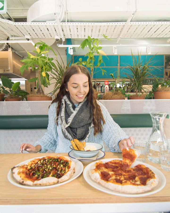 Vegan and pepperoni pizza Queenstown New Zealand Miss Lucys Pizzeria Bar Jucy Snooze