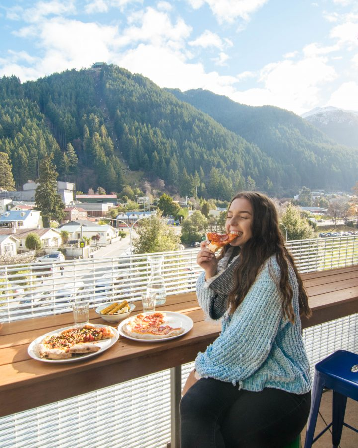 Miss Lucy''s Pizza bar outdoor area with Queenstown view Skyline Gondola