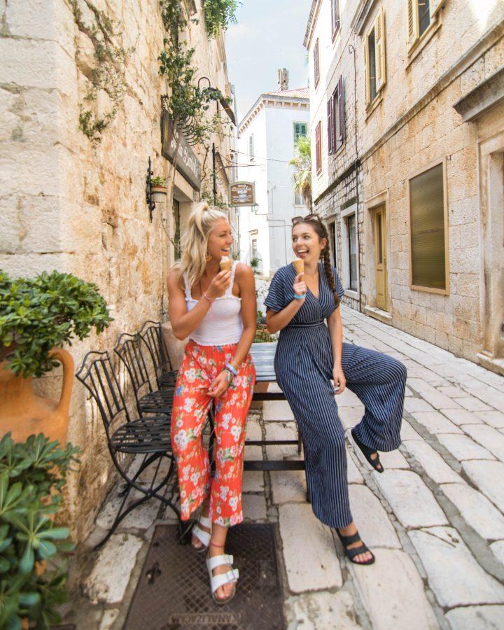 Girls with Gelato in Vis Croatia on Yachtlife