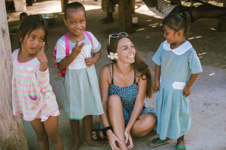 Local village in Solomon Islands Happy people in the Hapi isles