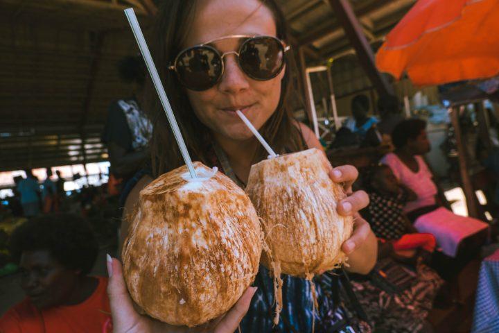 Chilled coconuts in Gizo Markets Solomon Islands